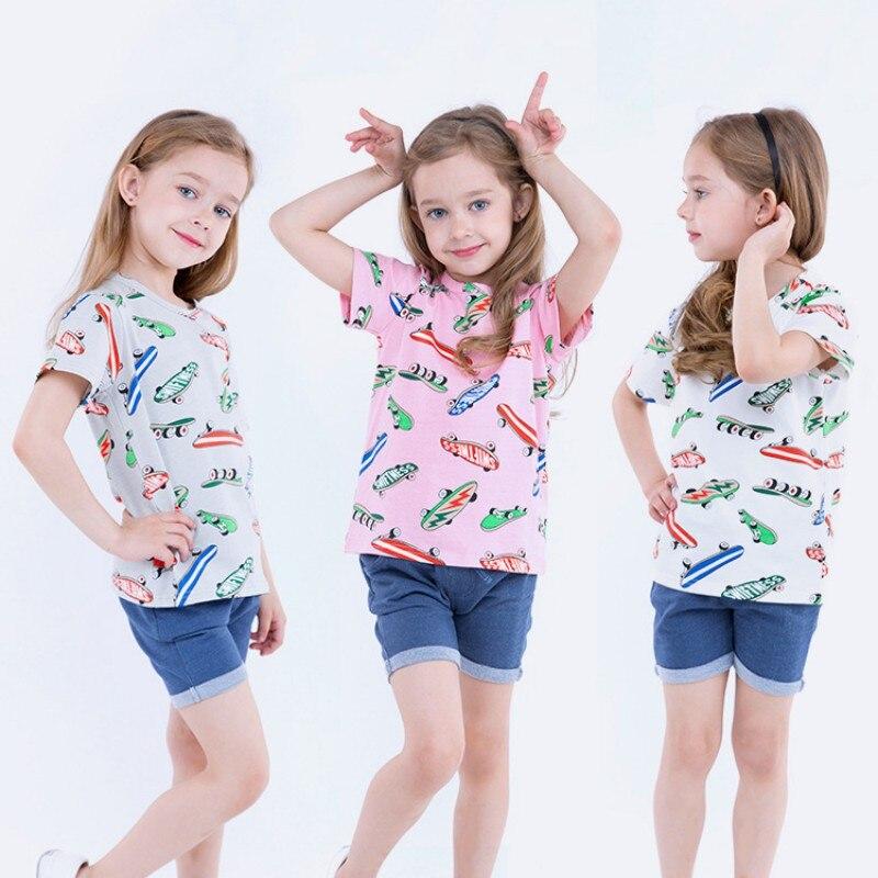 3-7T Children T-shirt Girl Baby Clothing Summer Short Sleeve Skate Print T-shirt Top Cotton Casual Comfort Girl Boy T-shirt