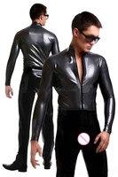 Sexy Lingerie Men Faux Leather Gay Men Catsuit Latex Crotchless Zipper Bodysuit Clubwear Sexy Men Lingerie Body Stocking