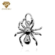 Zhaoru 925 Sterling Silver Spider Pendant Charm Fit  Bracelet & Bangle Necklace Animal Jewelry Fashion in
