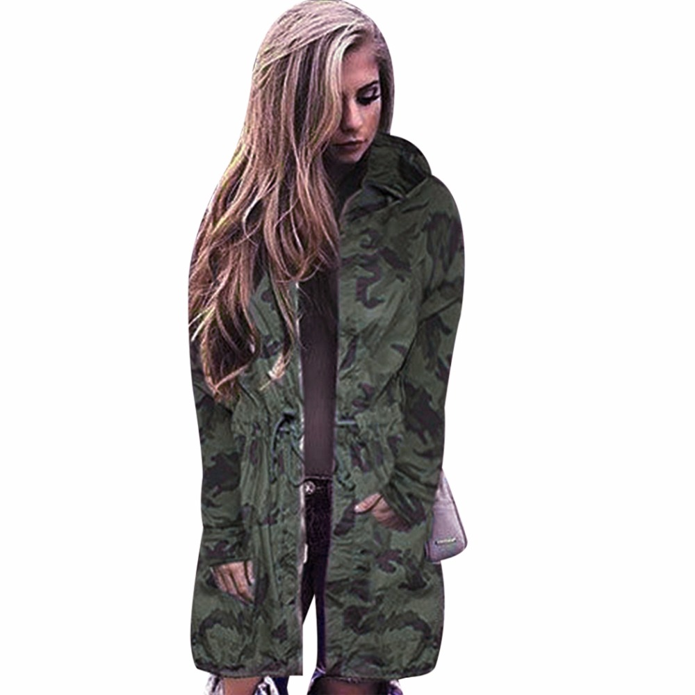 f9d524cb574d6 Women Camouflage Long Coat Fashion Drawstring Zipper Slim Hooded Jacket  Outwear Spring Autumn Long Sleeve Hip