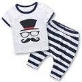 Wholesale Kids boys clothing Summer children moustache boys clothes toddler boys clothing sets novelty Cartoon Two piece T603