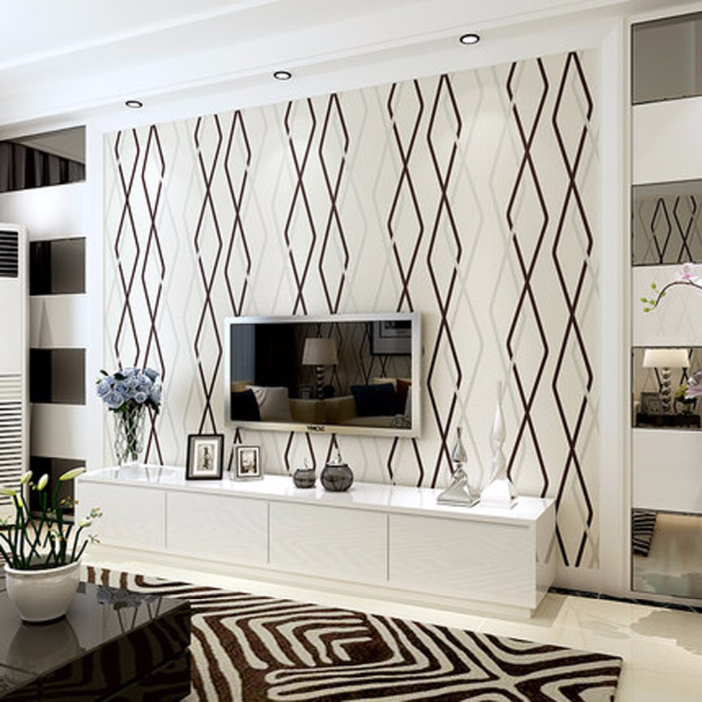 beibehang Modern geometric nonwovens 3D deerskin rhombus lines vertical striped background wallpaper papier peint