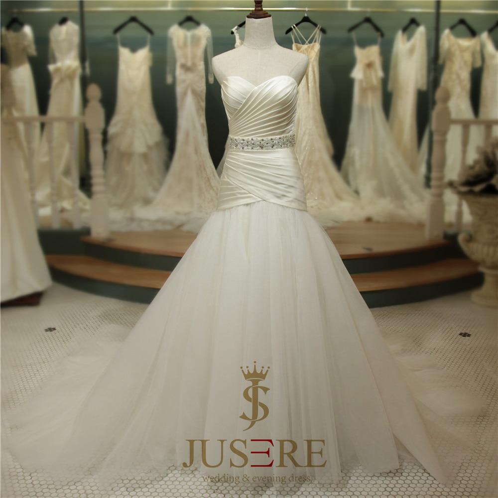 Sweetheart Off Shoulder Pleat Bodice Tulle Bottom Belt Sash Lace Closure Elegant Europen Style Satin Mermaid Wedding Dress