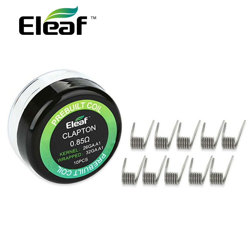 10pcs/pack Original Eleaf Prebuilt Clapton Coil 0.85ohm Material 26GA A1 / 32GA A1 Prebuilt Clapton Coil Wire for Lemo 3 Tank