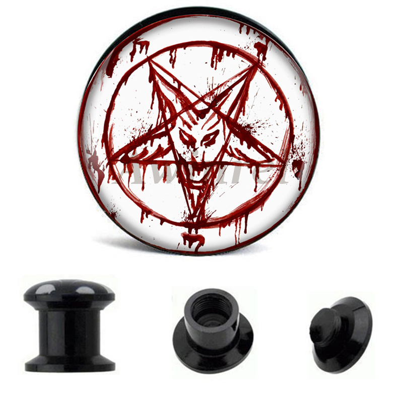 Industrious Wholesale Ear Gauge Plugs Red Baphomet Acrylic Screw Fit Flesh Tunnel Plug Eyelet Body Piercing Jewelry 6mm-25mm Aw40221