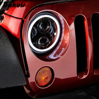 Bakuis 7Inch Round Project moto LED Headlights RGB Halo For Jeep Wrangler Bluetooth Phone APP Control Jeep Headlights (Pair)