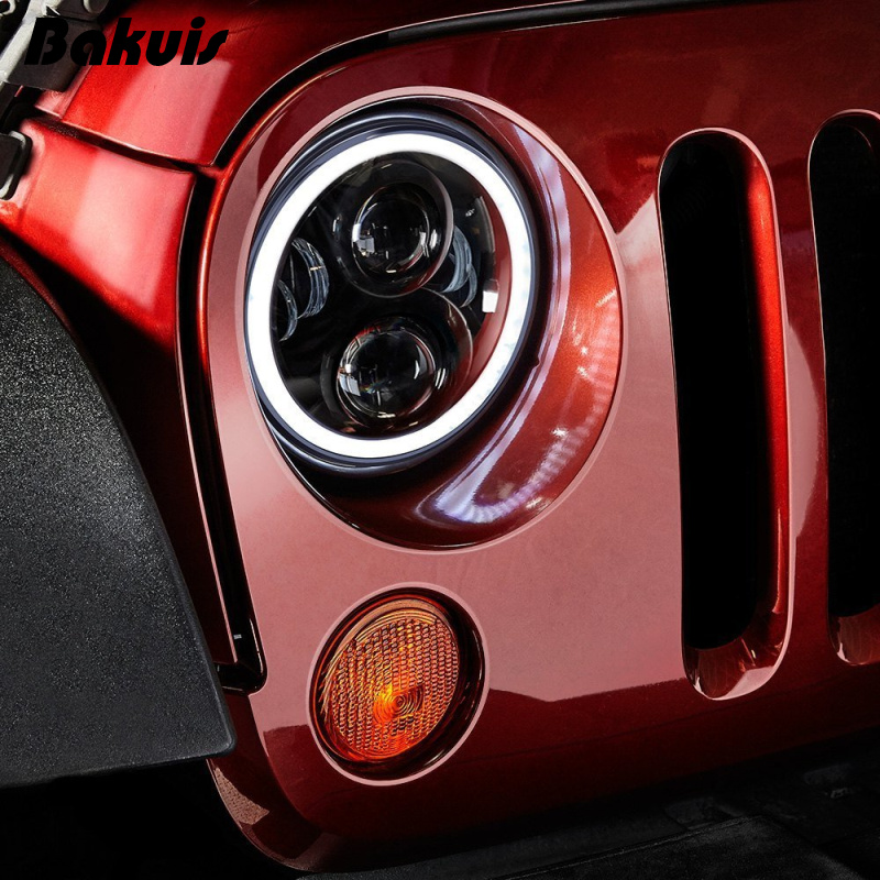 Bakuis 7Inch Round Project Daymaker LED Headlights RGB Halo For Jeep Wrangler Bluetooth Phone APP Control Jeep Headlights (Pair) pair 7x6inch led headlights 27450c of