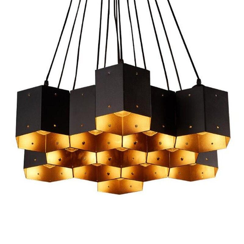 Vintage Loft Creative Iron Honeycomb Led E27 Pendant Light for Living Room Dining Room Shop 80-265V 1-13 Heads 2149Vintage Loft Creative Iron Honeycomb Led E27 Pendant Light for Living Room Dining Room Shop 80-265V 1-13 Heads 2149