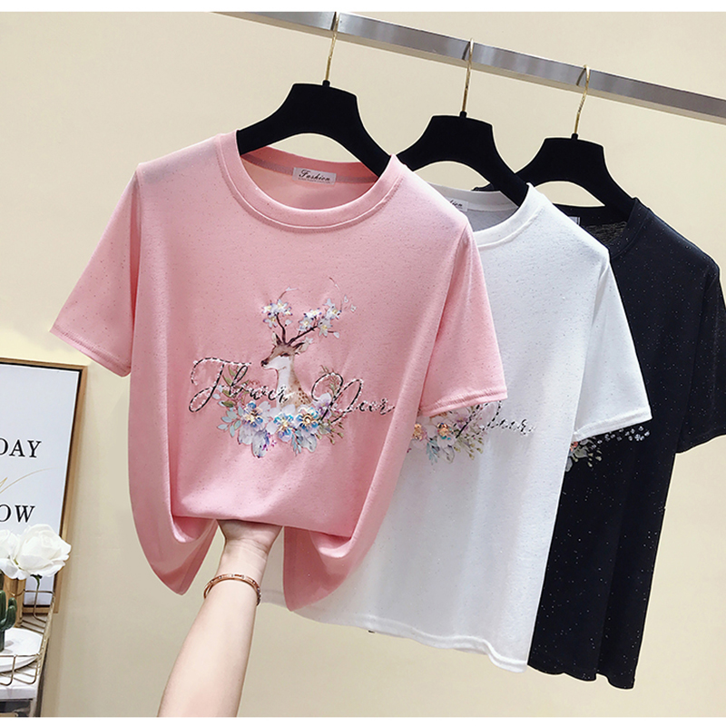GGRIGHT White Cartoon T Shirt Women Cotton Summer Tops T-shirt Short Sleeve Pink Beading Tee Shirt Femme 2019 Plus Size Tshirt