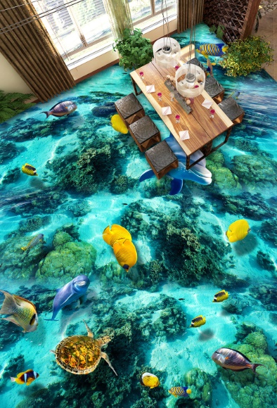[Self-Adhesive] 3D Tropical Sea Animals 3 Non-slip Waterproof Photo Self-Adhesive Floor Mural Sticker WallPaper Murals Print