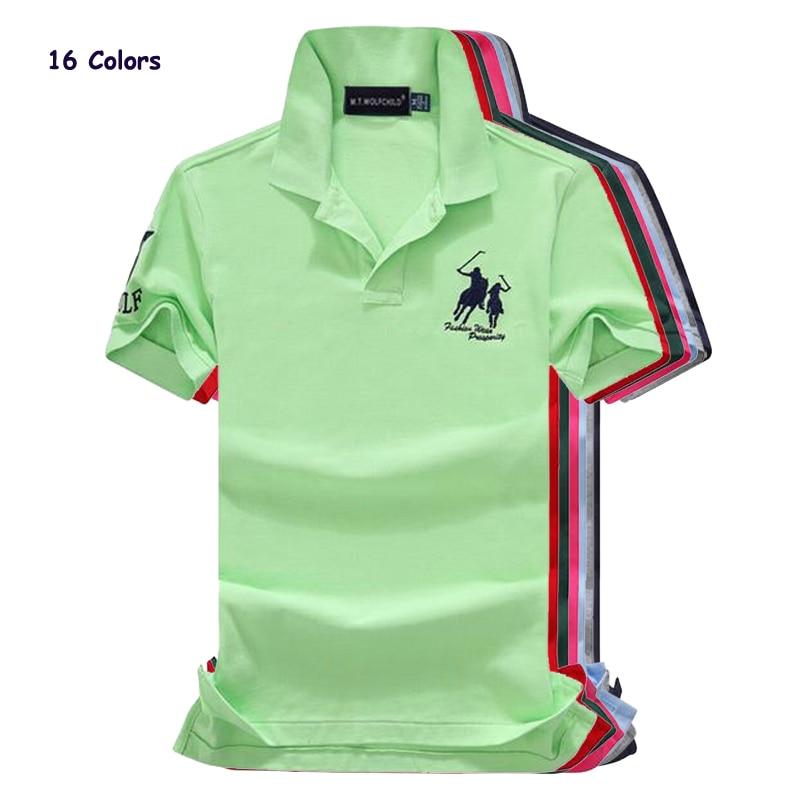 High quality 2018 Summer Men's horse short sleeve   polos   shirts casual cotton mens lapel   polos   shirts fashion slim mens tops