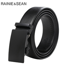 RAINIE SEAN Men's Genuine Leather Belt Business Black Automatic Buckle Belt For Trousers Real Cow Leather Male Accessories Belt belt male casino cas12 fact black black