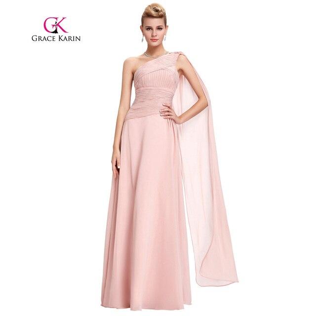 Eine schulter abendkleid lange rosa abendkleid grace karin geraffte ...