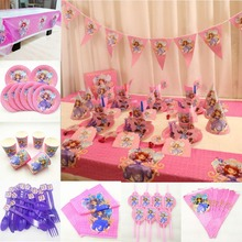82p/set Princess Sofia  Birthday Party Supplies Tablecloth Plate Cup Napkin Straw Flag Knife Fork Spoon Tableware Decoration Set все цены
