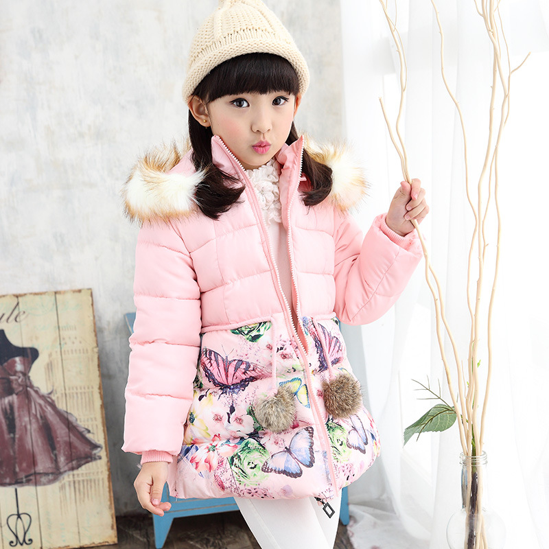 Down Top Fashion Acetate Cotton Jacket For Girl 2016 New Winter Coat Princess Jackets Kids For Teenage Girls Coats 2-13 Years