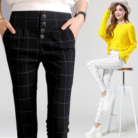 2018 Spring autumn Fashion casual slim plaid female elastic high waist women's ladies girls pencil harem pants trousers clothes