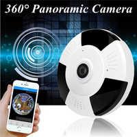 Mini 360 Derece Panoramik Kablosuz Wifi IP Balıkgözü Kamera İki Yönlü Ses 1080 P HD Siyah/Gümüş