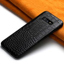 For Samsung note 10 Crocodile pattern Genuine Leather case for s10 plus A70 A9 J7 A5 Luxury phone cases capa shockproof