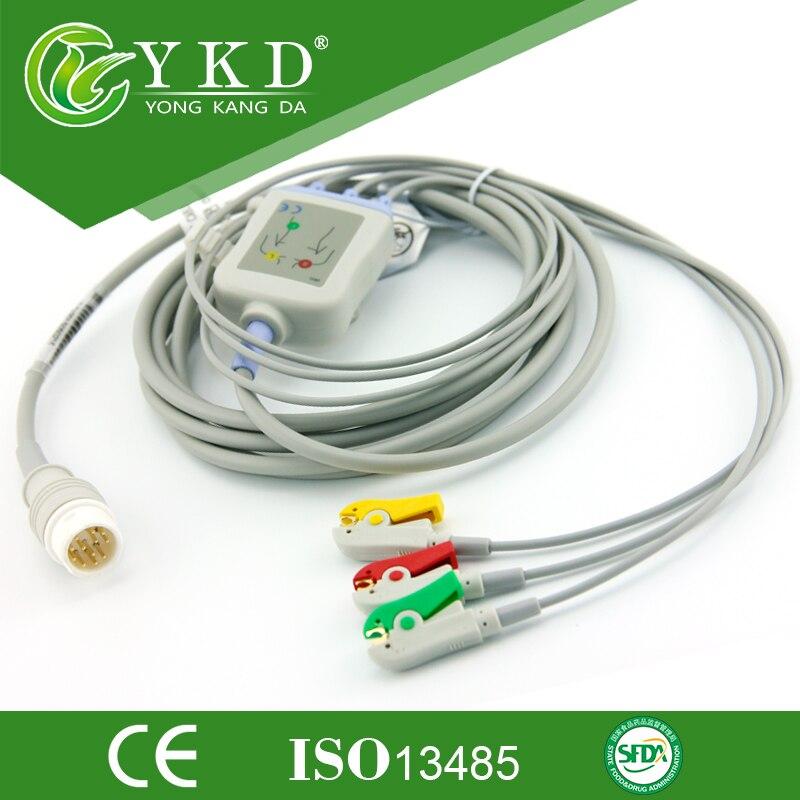 2st / lot Återanvändbar 3 Leder patientkabel med IEC-klämma för Mindray ecg-kabel