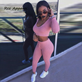 2016 fashion two pieces Pink Long Sleeve bandage jumpsuit club night wear Rompers Women bodycon jumpsuit bandage Bodysuit