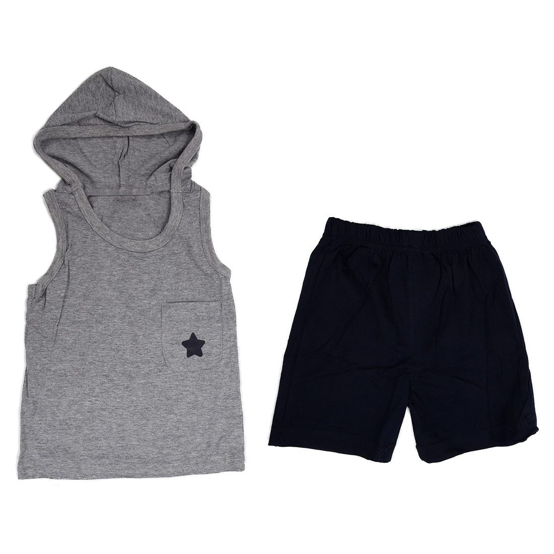 ABWE boy girl children clothing cotton summer baby kids cloth suit set vest + short hooded sports sets star gray