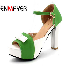 ENMAYER bow 12cm gladiator sandals women new shoes high platform Sandals BIG  Mixed Colors