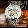 роскошных брендов Tevise Мужские механические наручные часы Автоматические часы мужской моды скелет стали цифровые часы человек Relógio часы