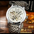 Marcas de lujo de Tevise Relojes de pulsera mecánicos de los hombres Relojes automáticos masculinos de la manera acero de esqueleto reloj digital del hombre reloj relogio