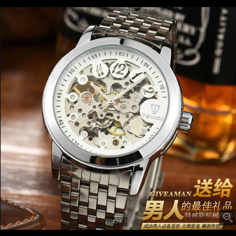 luxury Tevise brands Men s mechanical wristwatches Automatic male watches fashion skeleton steel man watch relogio