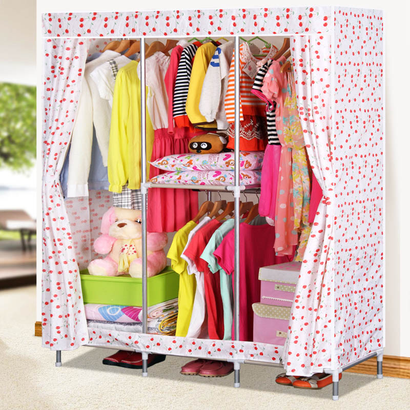 Printed Oxford cloth wardrobe 19MM steel pipe free combination wardrobe Large capacity Bedroom storage cabinet Home Furniture