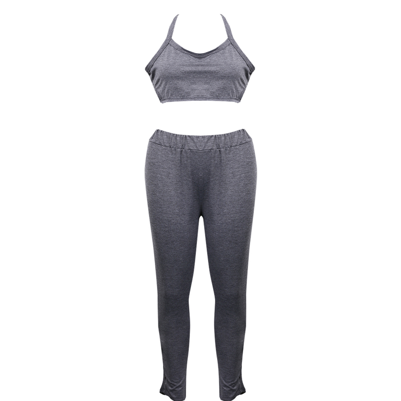 HTB1I5a czJTMKJjSZFPq6zHUFXal - Women's Training Outfit - Stylish Solid Gray Fitness Top w/ Pants for Sport Activities