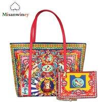 Misanwiney 2018 Элитный бренд сумки женские из натуральной кожи крупных торговых сумка Принц Принцесса печать Теплые кожаная сумка