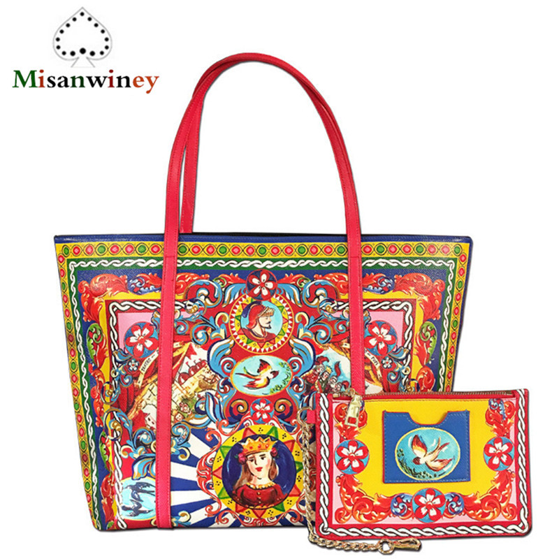 Misanwiney 2018 Luxury Brand Handbag Ladies Genuine Leather Large Shopping Tote Bag Prince Princess Printing Cowhide Leather Bag
