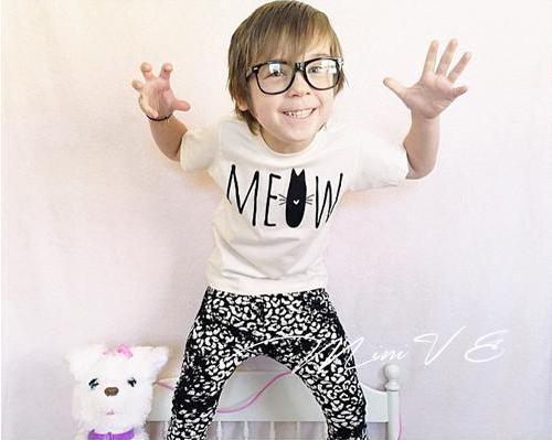 Ins * Bobo Choses 2015 Hot Sale Bebê Crianças Gato * Projeto T Crianças camisa Branca de Algodão Preto Pano de Verão O Pescoço Frete Grátis
