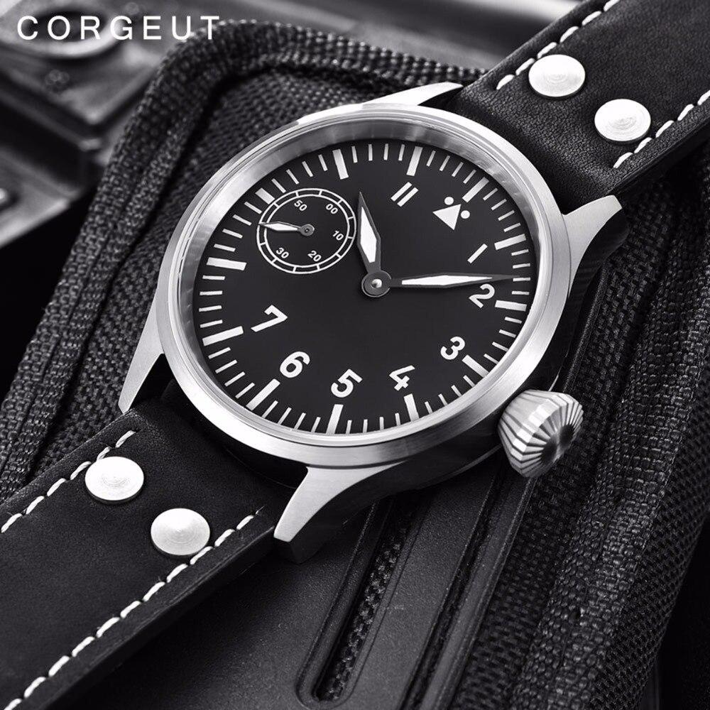 럭셔리 브랜드 남자 시계 corgeut 17 보석 기계 손 권선 갈매기 3600 6497 패션 가죽 스포츠 빛나는 손목 시계-에서기계식 시계부터 시계 의  그룹 1