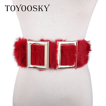 TOYOOSKY 2018 New Arrival Women Wide Belt Black and Red Fashion Double Buckle Elastic for Wedding Dress Waist