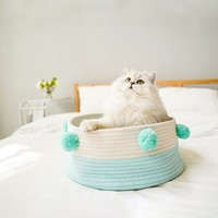 cat bed Cotton Rope Knitting Pet Kennel cat mat Summer Breathable Soft Comfortable Puppy Pet Bed