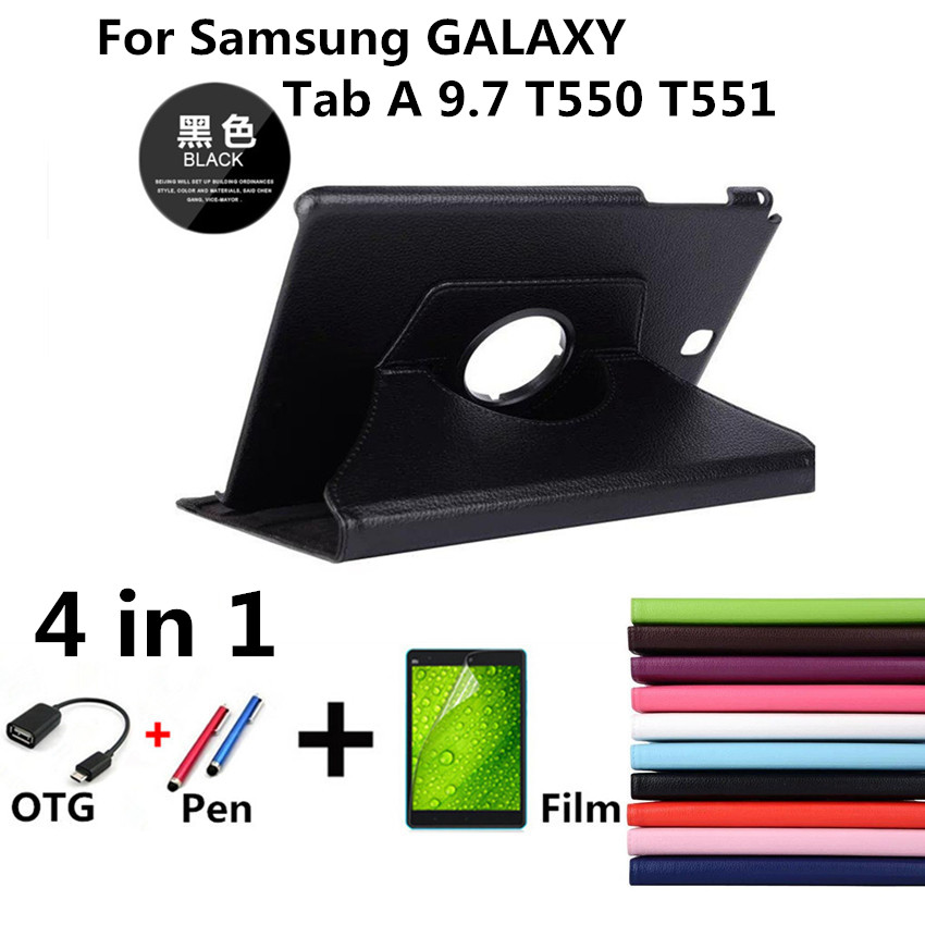 New Product 360 Rotating Litchi skin Leather cases flip stand tablet cover for Samsung Galaxy Tab A 9.7 T550 T551 T555 P550 P555 360 degree rotating smart pu leather cover for samsung galaxy tab a t550 t555 p550 9 7 tablet funda case screen protector pen