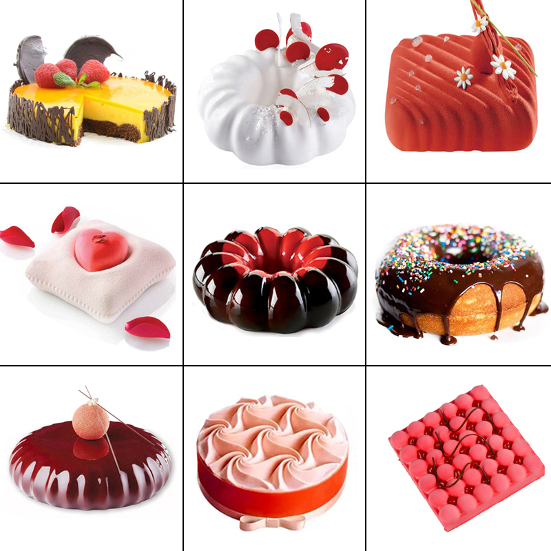 17 Shapes Food Grade Silicone Cake Mold French Dessert Mousse Mold Kitchen Round Heart Baking Mold Pan Cake Decorating Tool