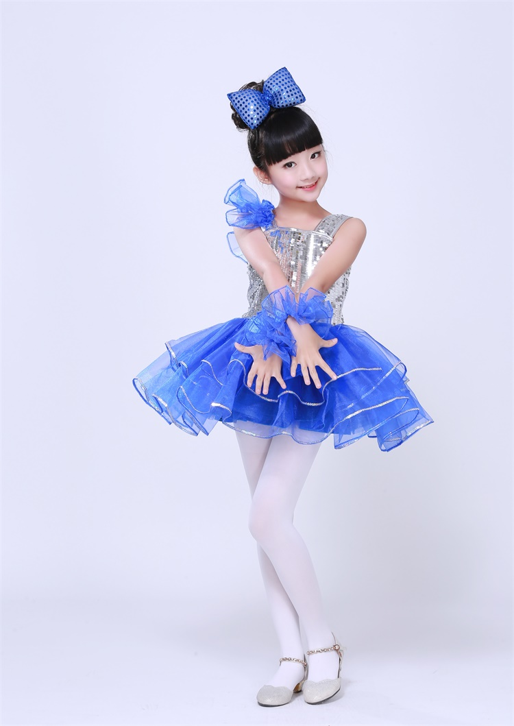 Free ship children girls silver sequined royal blue tutu latin dance dress luxury dance fairy stage performance dress