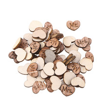 50pcs Lovely Heart Shape Wooden Pieces Cutouts Craft Embellishments Wood Ornament Manual Accessories For DIY Art (Mr Mrs)(China)