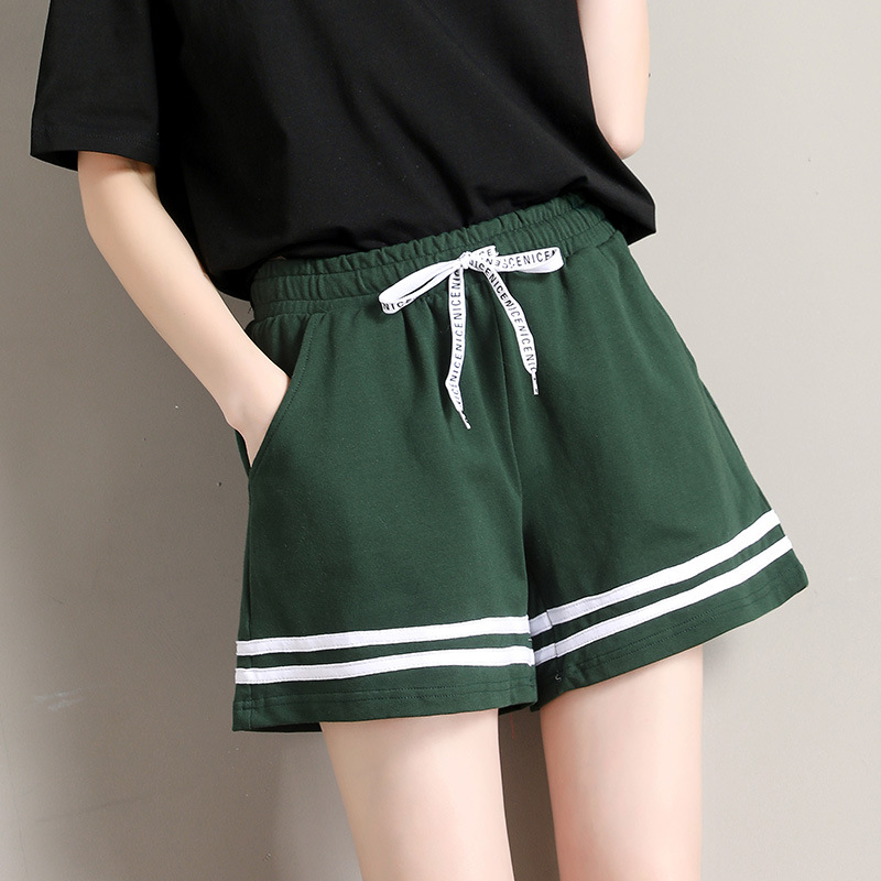 Women Striped Shorts Loose Summer Lace Up Pocket Casual Shorts For Female Student Outdoor Sport Preppy Style Shorts