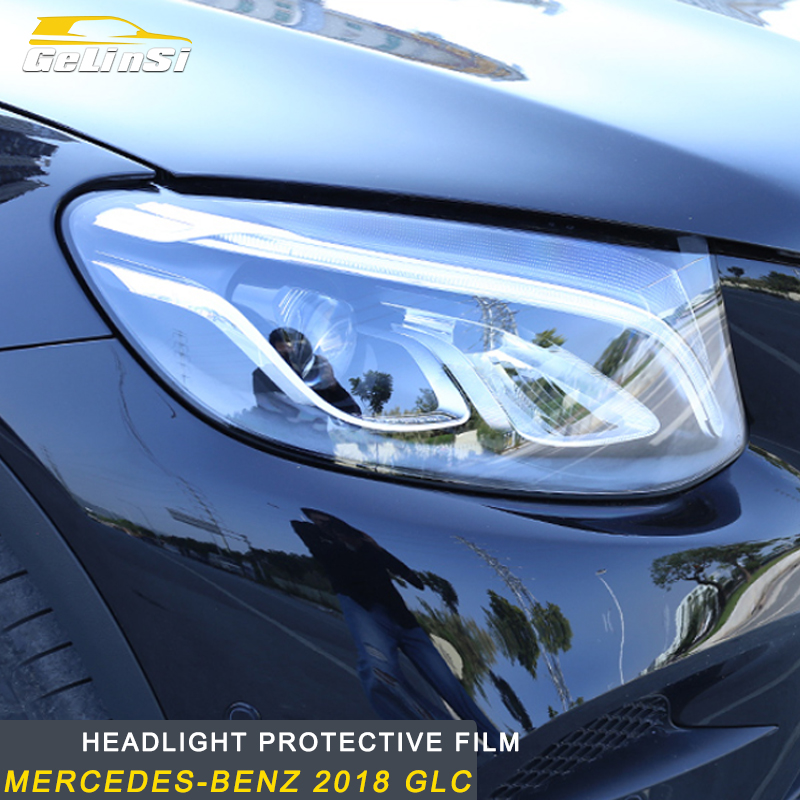 Gelinsi Pour Mercedes-Benz 2018 GLC Auto Voiture-style Phare film de protection TPU film transparent