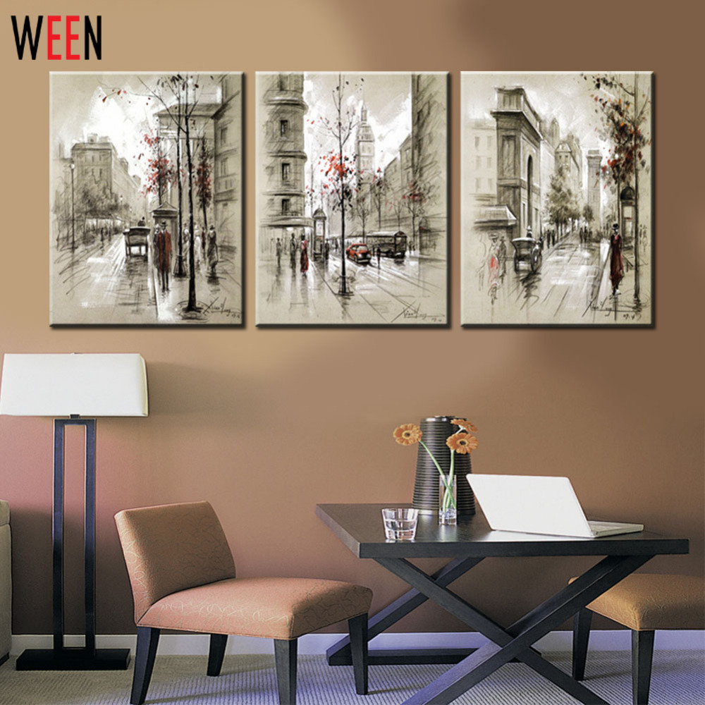 cheap framed wall art Canvas Printings Retro City Street Landscape 3 Piece Modern Style  cheap framed wall art