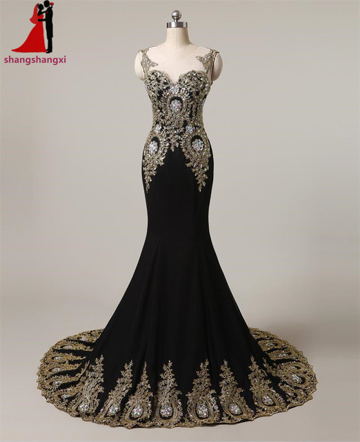 Black Long Evening Dresses 2017 Mermaid Plus Size Formal Dress Gold ...