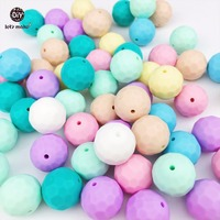 Let's Make Baby Silicone Teether Multi-faceted Beads 50pcs 15mm DIY Jewelry Teething Necklace Silicone Beads Baby Teether Beads