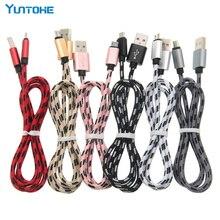 50 pz 0.25 m 1 m 2 m 3 m In Metallo Ad Alta Velocità USB intrecciato Cavo del Caricatore di Dati Veloce Micro USB 8 pin Tipo C Cavo di Ricarica Per Telefoni cellulari e Smartphone
