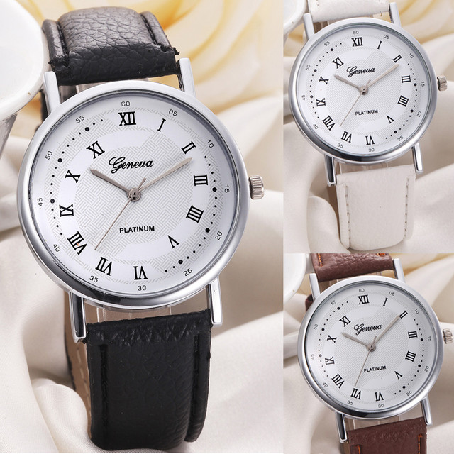 Dropship&Wholesale Unisex Watches Leisure Dial PU Leather Band Analog Quartz Watch for Women/men Discount Watches Women Clock