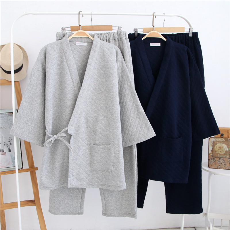 Men Warm Thicker Cotton Sleepwear Japaness Kimono Male   Pajama     sets   Autumn Winter pijama masculino Plaid V-Neck pyjama homme