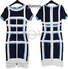 Fashion Women Bandage Dress Ladies'zipper Dress Leather Short Sleeve Sexy Bodycon Women's Clubwear Midi Dress